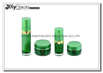 Green Plastic Cosmetic Containers Cylindrical Injection Molding Cosmetic Packaging