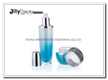 PMMA Gradient Blue Empty Makeup Containers For Lotion with Lid Bright Silver Plating
