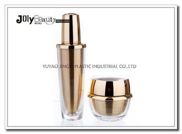 60 ML Capacity Plastic Lotion Jars With Bottle Inside Gold Plating Outside Transparent