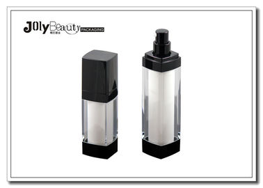 High End Square Plastic PP Airless Bottle , Clear 30ml Airless Foundation Bottle